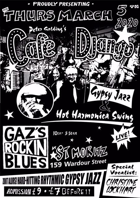 Gazs rockin blues at Chelsea Arts Club